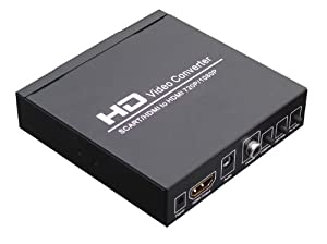 SCART +HDMI to HDMI converter :convert 480I(NTSC)/576I(PAL) format signal to 720P/1080P HDMI signal output, Easily connect with the DVD, set-top box, HD player, Game Console (PS2 PS3 PSP,WII,XBOX360 etc)