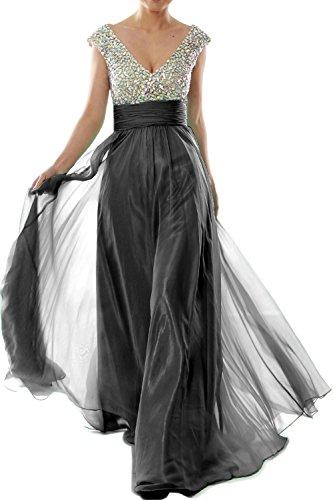 MACLoth Women Cap Sleeve V Neck Crystal Chiffon Long Prom Dress Evening Gown (24w, Black) (80s Fancy Dress Plus Size)