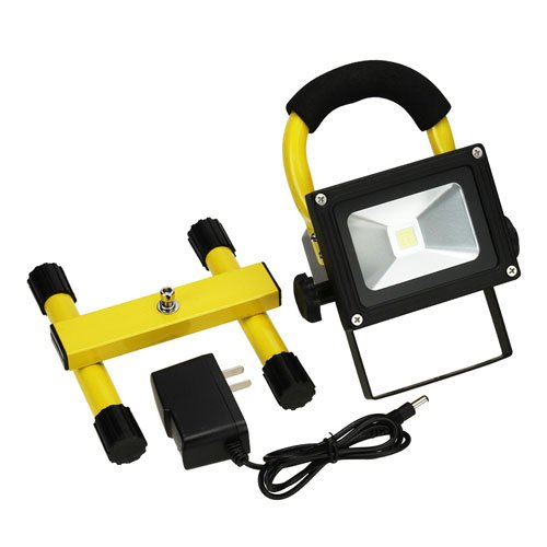 Muchbuy 10W Waterproof Cool White Rechargeable Led Floodlight, High Power Outdoor Lamp With Yellow Color Bracket