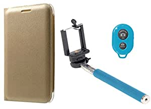 Novo Style Oppo F1 Plus/R9 Premium PU Leather Quality Golden Flip Cover + Selfie Stick with Adjustable Phone Holder and Bluetooth Wireless Remote Shutter