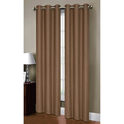 Bella Luna Henley Thermal Insulating Faux Linen 76 x 84 in. Grommet Curtain Panel Pair, Taupe