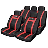 14pce Leather Look Universal Car Seat Covers - Black/Redby Urban X