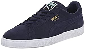 PUMA Men's Suede Classic + Lace-Up Fashion Sneaker, Peacoat/Peacoat/White, 12 M US