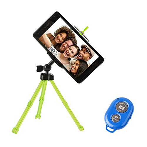 DMG Sturdy Adjustable Tripod Stand Holder with Bluetooth Selfie Clicker Remote for iPhone, Smartphone and Camera