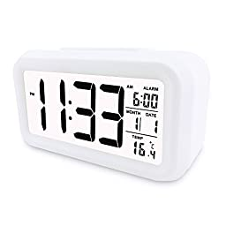 POTLIKE Digital Electronic Alarm Clock, Automatic Luminous Calendar Snooze With Date & Temperature Display, Battery Operated(Not Included), White