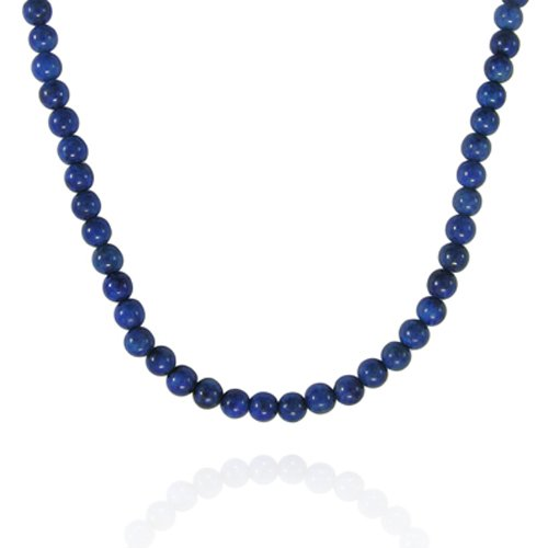 4mm Round Lapis Bead Necklace, 18+2