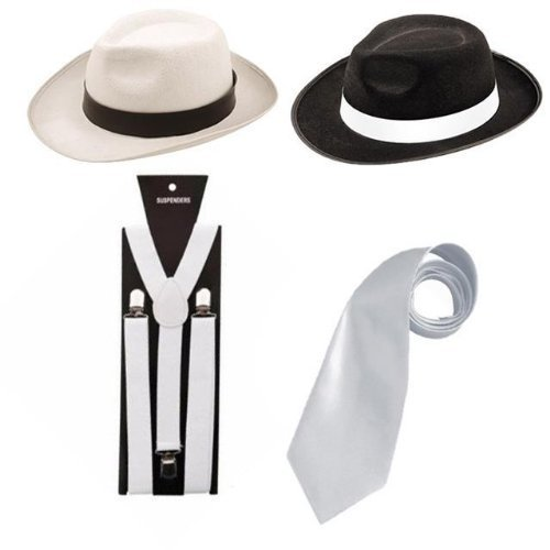 Gangster Fancy 1920's Dress Mens Costume Mob Hat Braces Tie Set (OneStopClothingCo) (Black Hat-White Tie&Braces) by OneStopClothingCo
