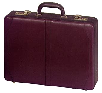 Deluxe Executive Expandable Leather Attache Case - Burgundy