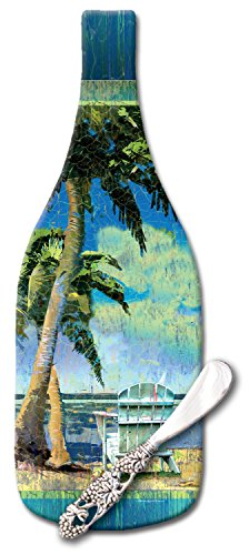 CounterArt Day at The Beach Wine Bottle Shaped Glass Cheese Board with Spreader Knife, 12-1/2