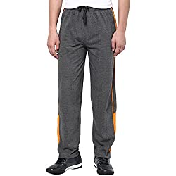 Aventura Outfitters Single Jersey Trackpant Anthra Melange With Half Orange Stripes and Two Piping - XL (AOSJTP522-XL)
