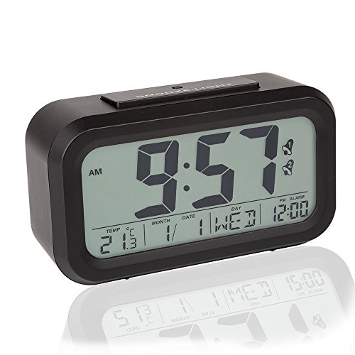 Peakeep Dual Alarms Easy to Set Streamlined Smart Night Light Activated LCD Large Digital Alarm Clock Battery Operated with Snooze Function and Optional Weekday Alarm Mode (Black)