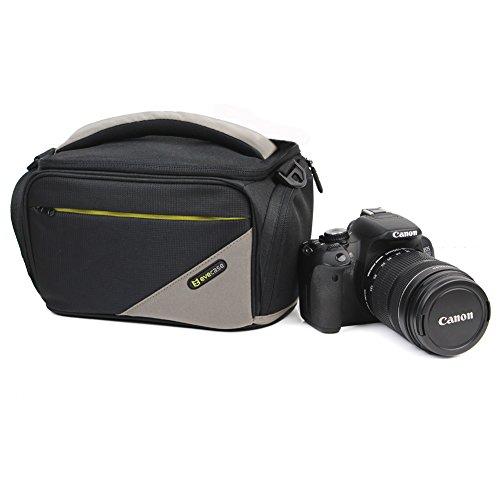 Evecase Black Universal Large Dslr Camera Travel Case/Bag With Strap For Panasonic Dmc-Fz1000K Dmc-G6 G6Kk G5Kk G3 Gh4 Gh4K Gh3 Gh2 Gh1 Gf3 Gf5 Gf2, Ge Power Pro X500 X550 X600