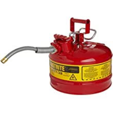 Justrite AccuFlow 7225120 Type II Galvanized Steel Safety Can with 5/8&#034; Flexible Spout, 2.5 Gallons Capacity, Red