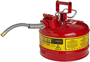 "Justrite AccuFlow 7225120 Type II Galvanized Steel Safety Can with 5/8"" Flexible Spout, 2.5 Gallons Capacity, Red"