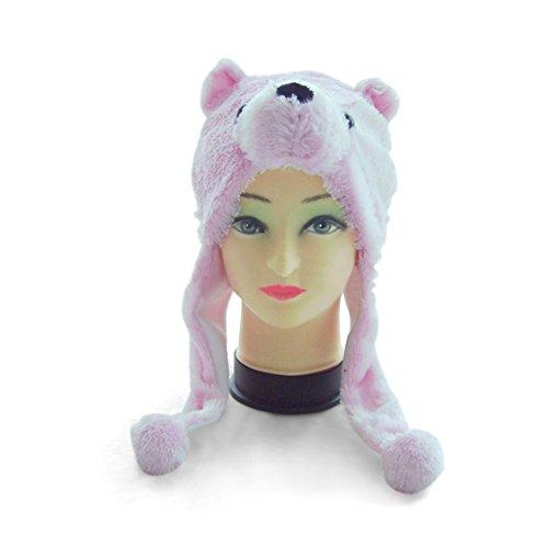 TopTie Weichtier Hut mit Ohrenklappen, Pelztier Hood Cap - Pink Bär