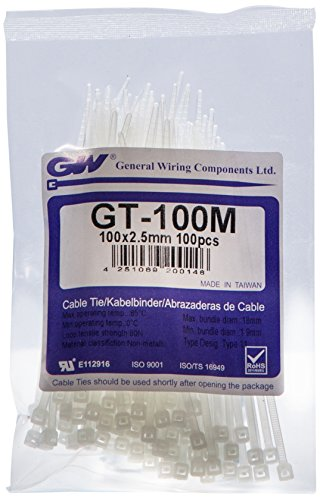GW Kabelbinder-Technik, Kabelbinder 100 x 2,5 mm, natur, 100 Stück, GT-100MC
