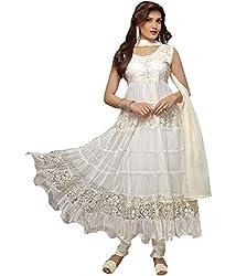 Clickedia Women's Brasso & Net Semi-Stitched Anarkali Suit Dress Material(WhiteAnarkali_White)