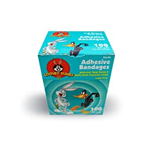 "First Aid Bandages for kids - Bugs Bunny & Daffy Duck - 3/4""X 3"" - 100/bx (1 Box)"