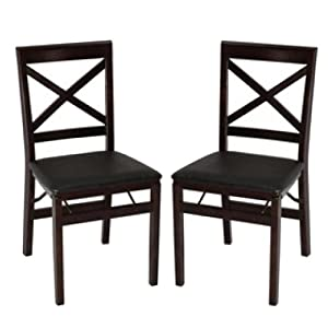 Amazon Com Cosco Wood Folding Chairs With Square Xback