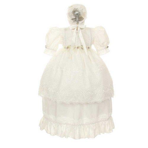 Rain Kids White Rosebud Baptism Bonnet Dress Toddler Girl 3T