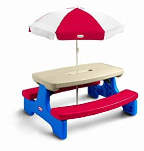 Includes Two Cup Holders And A Multi Purpose Condiment/Crayon Tray - Little Tikes Easy Store Large Picnic Table with Umbrella from MGA Entertainment