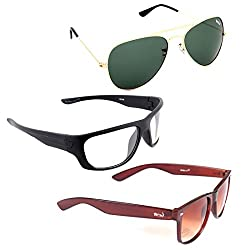 Elligator Stylish Aviator Gold Green And White Nightvision With Brown Wayfarer Sunglasses Combo ( Set of 3 )
