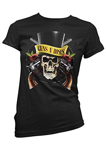 T-shirt Donna Guns N'Roses - Skull - Maglietta 100% cotone LaMAGLIERIA,XL, Nero