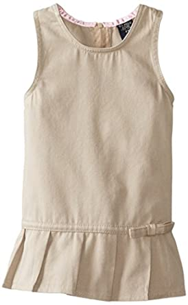 U.S. Polo Association  Little Girls'  Twill Jumper with Pleated Hem, Khaki, 2T