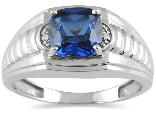 Men's Sapphire and Diamond Ring in 10K White Gold