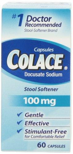 Colace Docusate Sodium Stool Softner, 100 mg Capsules, 60 Count