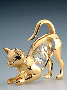 Cat Swarovski Crystal 24k Gold Plated Figurine NIB