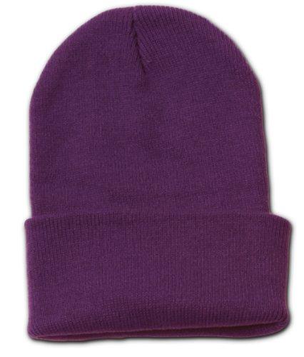 12 Lot (One Color) Long Beanies Wholesale- Purple