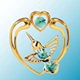 24K Gold Plated Hanging Sun Catcher Or Ornament..... Hummingbird In Heart With Green Color Swarovski Austrian...