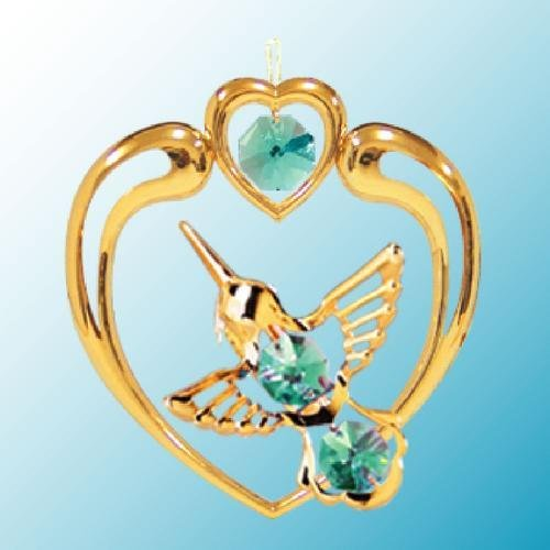24K Gold Plated Hanging Sun Catcher or Ornament..... Hummingbird in Heart With Green Color Swarovski Austrian Crystals