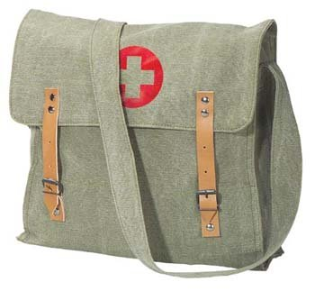 Nato Canvas Medic Red Cross Messenger Bag, Sage