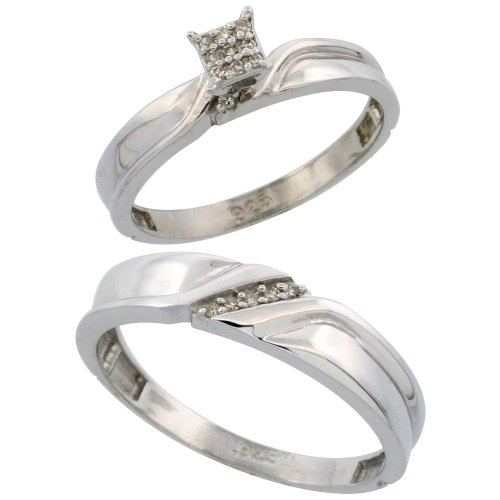 Sterling Silver Diamond Engagement Rings Set for Men and Women 2-Piece 0.09 cttw Brilliant Cut, 3.5mm & 5mm wide, Size 6.5