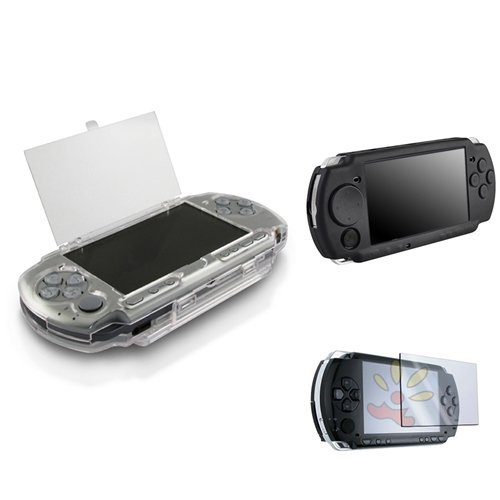 Everydaysource® Hard Crystal Case + Black Soft Silicone + Lcd Screen Protector Case Compatible With Sony Psp 2000 3000