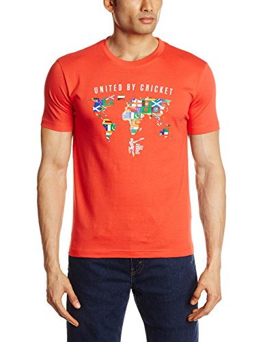 Cricket ICC CWC 2015 All Nation United By Cricket T-Shirt, Men's  (Red) (Multicolor)