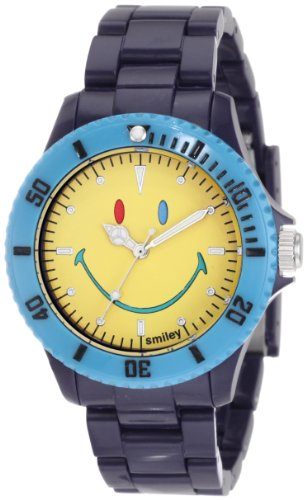 "Smiley ""Happy Time"" Men'S Wgs-Cbbv01 Color Block Blue And Yellow Analogue Watch"