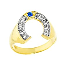buy Men'S 14K Yellow Gold Blue Sapphire And White Diamond Lucky Horseshoe Ring (Size 7.5)