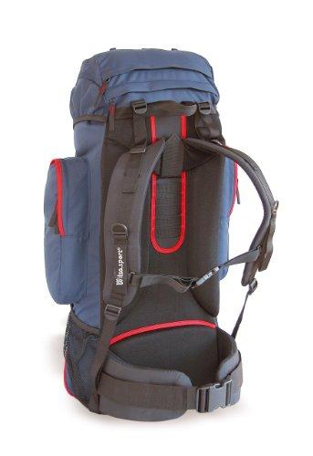 Wilsa (Tuareg 55) aluminium framed back-pack for long treks, 2.0 kg unladen weight and 55 litre capacity.