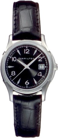 Hamilton Jazzmaster Lady Auto Black Dial Black Embossed Leather Crocodile Print Womens Watch H32311735