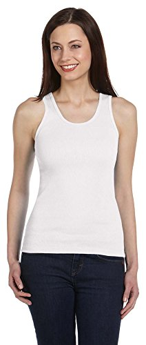 Bella + Canvas Ladies 2x1 Rib Tank, XL, WHITE