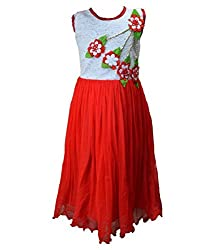 Motley Girls' Dress (5-6-M033_6-7 Years_Red _6-7 Years)
