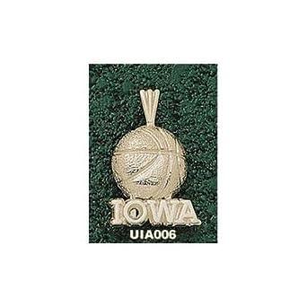 Iowa Hawkeyes Iowa Basketball Pendant - 14KT Gold Jewelry by Logo Art