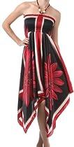 FOSatinDiaFlower46A-5331 Diamond Flower Satin Feel Beaded Halter Smocked Bodice Handkerchief Hem Dress - Red / Medium