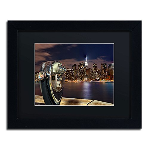 Trademark Fine Art Midtown Over The East River-Iii Framed Art By David Ayash, 11 By 14-Inch, Black Matte With Black Frame
