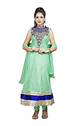 Angel Garments Women's Georgette Unstitched Dress Material (Green)