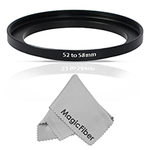 Goja 52-58mm Step-Up Adapter Ring (52mm Lens to 58mm Accessory) + Bonus Ultra Fine Microfiber Lens Cleaning Cloth