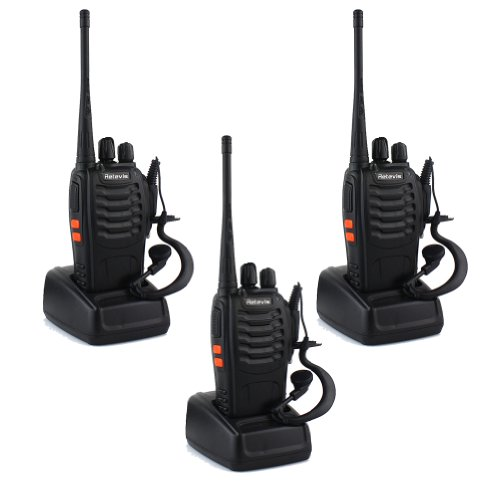 Retevis H-777 Walkie Talkie UHF 400-470MHz 5W 16CH Single Band With Original Earpiece Handheld Amateur Radio Transceiver 2-Way Ham Radio Black 3 Pack